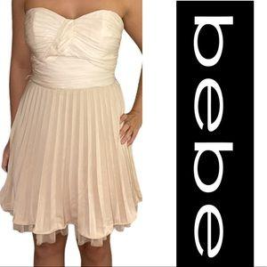 Bebe Corsican Colorblock Pleated A-Line Mini Dress